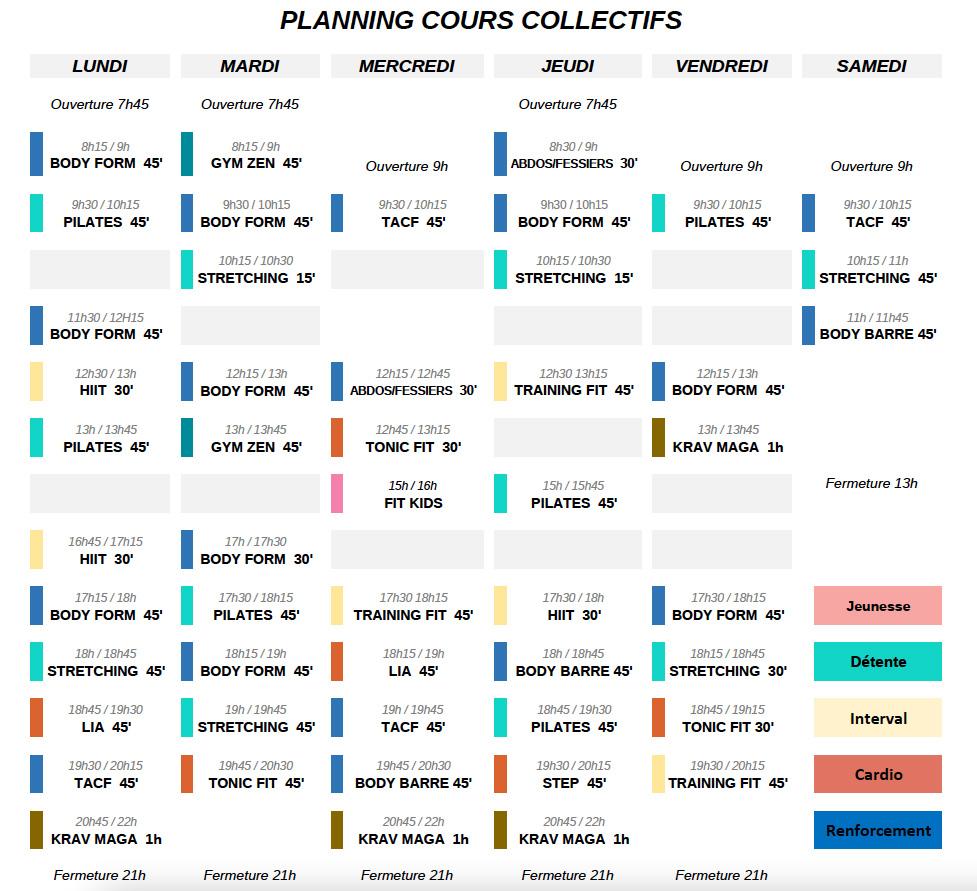 Planning Gymligne